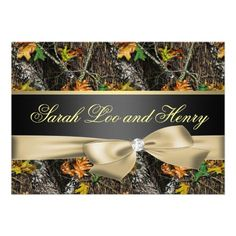 Gold Camo Wedding Invitations