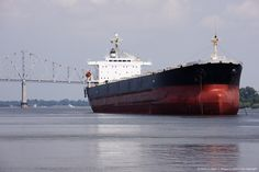 Container ship in a river, Mississippi River, Gramercy, St. James Parish, Louisiana, USA