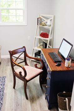 Let this feminine, coastal home office design inspire you to create home office decor where you find peace and do your best work!