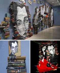Painted book sculptures