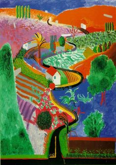 Nichols Canyon by David Hockney, 1980. Nichols Canyon is a ravine pass connecting the Hollywood Hills with Mulholland Drive in Los Angeles county, California. Hockney moved to the state in the 1960s, where he created some of his most famous paintings.