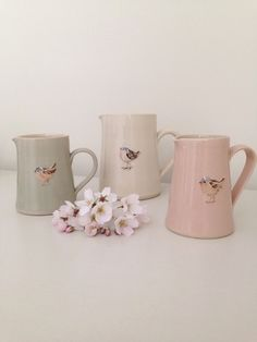 Chaffinch Small Jugs by Jane Hogben | Clarabelle interiors