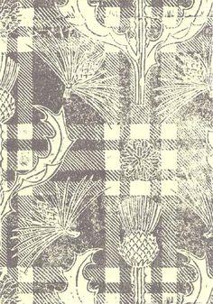Katherine Morris: Handprinted wallpaper.  Scots Thistle...