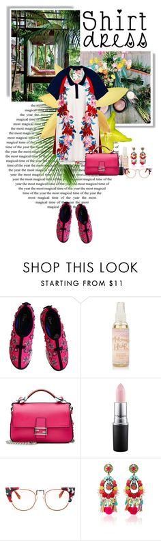 """tropical shirtdress"" by gizaboudib on Polyvore featuring moda, Haze, Christian Dior, Fendi, MAC Cosmetics, Ranjana Khan y shirtdress"
