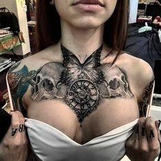 Chest tattoo tattoos tattoos, chest tattoo и chest piece tat Chest Tattoos For Women, Chest Piece Tattoos, Pieces Tattoo, Female Chest Tattoo, Tattoo Women, Chest Tattoo Designs Female, Cool Chest Tattoos, Back Piece Tattoo, Tattoo Girls