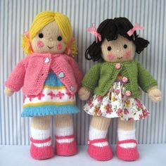 Crochet Dolls Design Polly and Kate - Knitted Dolls Knitting pattern by Dollytime Knitted Doll Patterns, Knitted Dolls, Crochet Dolls, Knitting Patterns Free, Free Knitting, Knitted Skirt, Knitted Bags, Crochet Cats, Crochet Birds