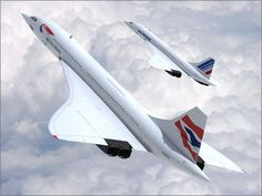 """Concorde: The British Airways and Air France Concorde in the same sky at the identical time! A new meaning on: """"Twin Engined Aircraft! Air France, Sud Aviation, Civil Aviation, Commercial Plane, Commercial Aircraft, Concorde, Photo Avion, Passenger Aircraft, Aircraft Photos"""