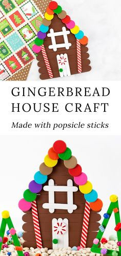 This Diy Popsicle Stick Gingerbread House Craft Is An Easy And Fun Christmas Craft For Kids Includes A Free Printable Craft Pattern And Ideas For Sensory Play. Christmas Arts And Crafts, Christmas Crafts For Toddlers, Preschool Christmas, Noel Christmas, Holiday Crafts, Christmas Ideas, Spring Crafts, Christmas Crafts For Kindergarteners, Christmas Tables