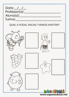 ESPAÇO EDUCAR: Atividades de alfabetização para imprimir: trabalhando o som inicial das palavras ou fonemas iniciais