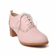 Carol Shoes Women's Fashion Sweet Lace-up Cute Decorative Border Chunky Mid Heel Oxfords Shoes ** Tried it! Love it! Click the image. : Oxford Shoes