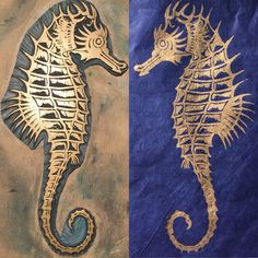 I've been experimenting with more gold ink, this time Cranfield Traditional Gold oil based ink. This Seahorse was the very first linocut I…