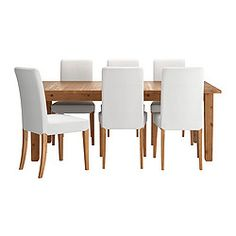 IKEA - STORNÄS / HENRIKSDAL, Table et 6 chaises, 2 rallonges incluses.Vous pouvez facilement et rapidement modifier la taille de la table en fonction de vos besoins. Avec ses 2 rallonges rangées à portée de main sous le plateau quand vous ne vous en servez pas, vous pouvez accueillir entre 6 et 8 personnes.Pin massif : un matériau naturel qui embellit avec l'âge.