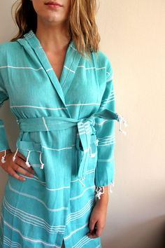 Age 1012 BATHROBE Turquoise 100 Natural Cotton Turkish by loovee, $45.00