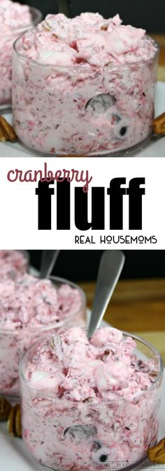 Cranberry Fluff is the perfect combination of sweet, tart, and crunchy for a fantastic side dish thats a must make for your holiday menu! via Real Housemoms holiday recipes christmas main dishes Holiday Desserts, Holiday Baking, Just Desserts, Holiday Recipes, Christmas Recipes, Cold Desserts, Christmas Goodies, Holiday Treats, Christmas Stuff