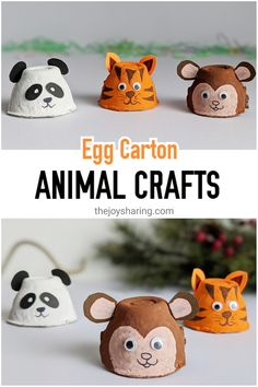 Recycle egg carton into these cute animal crafts. Easy tiger panda and monkey craft for preschoolers to make. Farm Animal Crafts, Animal Crafts For Kids, Crafts For Kids To Make, Toddler Crafts, Animals For Kids, Projects For Kids, Artic Animals, Animal Projects, Kids Crafts