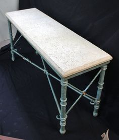 4cd8a57189e17 124  Wrought Iron and Coquina Stone Console Table on