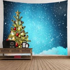 Waterproof Christmas Tree and Snows Printed Wall Hanging Tapestry - BLUE W91 INCH * L71 INCH