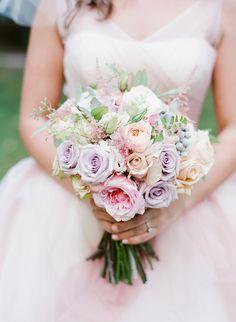 pink and lavender rose bouquet by Belle of the Ball Designs Bouquet Pastel, Blush Bouquet, Pastel Flowers, Boquet, Blush Flowers, Romantic Wedding Flowers, Bridal Flowers, Floral Wedding, Bride Bouquets