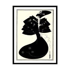 "Vintage Art Nouveau illustration ""The Black Cape"" by Aubrey Beardsley"
