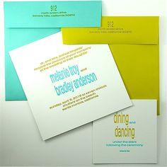 Invitation & reception arei double thick white cotton  aqua or cactus envelope  aqua & cactus ink