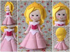 Princesa Aurora, Bela adormecida, de 15 cm em feltro