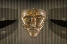 War mask.15th cent. steel with gold inlay. Museum Islamic Art.Doha Qatar