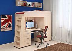 Кровать-чердак Легенда 1 (комплект мебели). комплект детской мебели с компьютерным столом