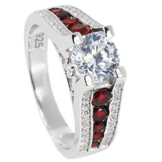 Thin Red Line Engagement Ring Sterling Silver Round 65mm CZ Red