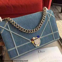 Dior Denim Diorama Bag With Rhinexstone Flower Clasp Summer 2016