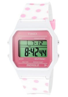 Timex Womens Classic Pink Dotted White Resin Strap Watch T2N381 >>> Learn more by visiting the image link.