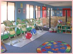 Infant classroom weeks to 12 months). Home Daycare Rooms, Toddler Daycare Rooms, Daycare Nursery, Infant Toddler Classroom, Daycare Spaces, Childcare Rooms, Kids Daycare, Infant Daycare Ideas, 24 Hour Daycare