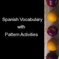 Spanish Vocabulary with Pattern Activities - Spanish Playground Spanish Games, Spanish Songs, Spanish Vocabulary, Spanish Activities, Vocabulary Cards, Spanish Class, Teaching Spanish, Activities For Kids, Spanish Pattern