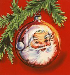 A Vintage Santa ornament on a spruce