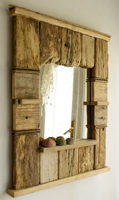 Decorative Mirror, Driftwood Mirror, Beach Cottage Style Mirror, Handmade Mirror, Patchwork Mirror