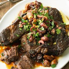 Mediterranean Chuck Roast - Only 8 carbs per serving. Serve this with low carb veggies & a slice of whole wheat bread & you will have a delicious dinner!