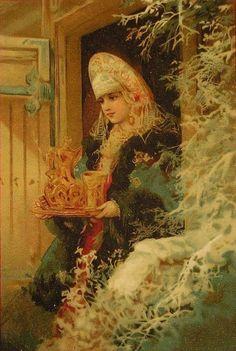 Rarity postcards by N. N. Karazin - Old Samovar