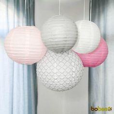 Bobee Pink & Grey Paper Lanterns set of 5.  Cute for a little girls nursery!