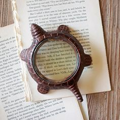 Tortoise Magnifying Glass - Rustic aluminum. Doubles as paperweight.