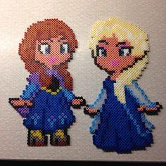 Anna and Elsa - Frozen hama perler beads by chlubcke (original design by geekmythology)