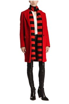 'Obecki' | Virgin Wool Blend Bonded Car Coat, Dark Red