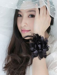 Black Wedding Prom Faux Pearl Beads Feather Corsage Wrist Flower Bracelet | eBay