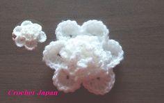 立体的な花の編み方 6【かぎ針編み】How to Crochet 3D flower
