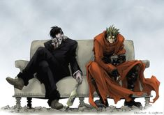 wolfwood and vash... chillin' on the couch in the desert.