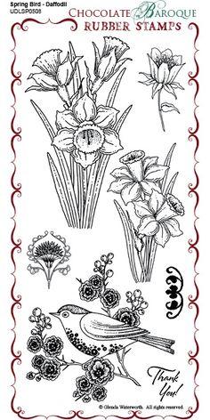 DL Spring Bird Daffodil DL stamp sheet