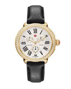 MICHELE 18mm Leather Watch Strap, Jet Black