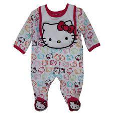 SANRIO HELLO KITTY 2PC COVERALL BODYSUIT & BIB SET BABY GIRL 6-9 MONTHS WHITE