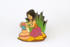 This retired Disney pin for sale features the cute Indian village girl Shanti from the Jungle Book, she is kneeling at the river pouring water in a pot. Guaranteed Authentic and Scrapper-Free. Earn re