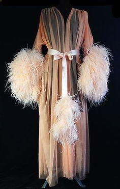 Sheer Peachy Boudoir Ostrich Robe Burlesque Catherine D'Lish