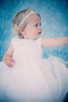 Infant Satin Flower Girl Baptism Dress with Organza Pearl and Crystal Beads Trim