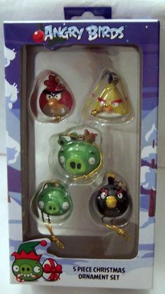 Angry Birds 5 Piece Mini Christmas Ornament Set New In Box $19.99